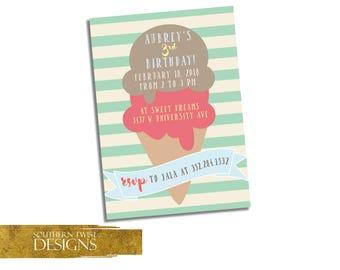 Ice Cream Scoop Party Invitation - Ice Cream Invitation - Ice Cream Birthday Invitation - Ice Cream Girl Birthday Invitation Printable
