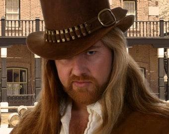 Top Hat Leather Steampunk Western Gunslinger