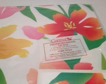 1986 Sealed Currant Squash Blossoms Wrapping Paper and card 2 --24x30 Inch Sheets