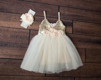 Ivory Tulle Flower Girl Dress, Infant Gold sequin, Cream Tulle, Gold Ivory Cream Wedding, Sash Belt Headband, Gold glitter, Boho Chic Tutu