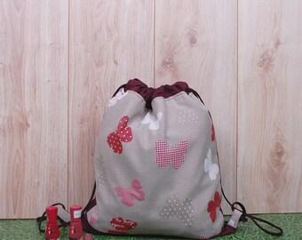Casual Drawstring Backpack for Women, Butterfly Gift, Small Festival Backpack, Workout Bag, Beach Bag, Sack Bag, Canvas Rucksack, Summer Bag