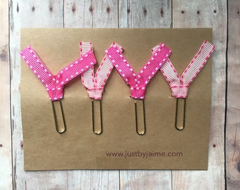4 pink saddle stitched ribbon paper clips - 2 light pink & 2 dark pink - gold or silver toned clip - teacher gift -- breast cancer awareness