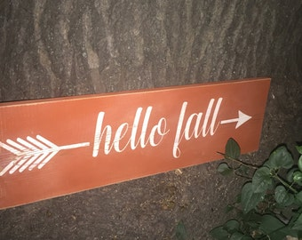 Hello fall rustic sign