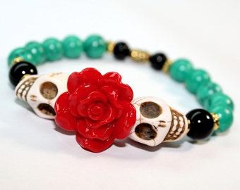 Muertos Bracelet, Sugar Skull Bracelet, Day of the Dead Bracelet, Christmas Bracelet, Turquoise Bracelet