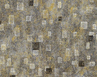 Robert Kaufman Gustav Klimt Grey Gray Charcoal Gold Cotton Gilded Fabric BTY SRKM-17181-184