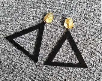 Black Acrylic Pharoah earrings (triangle)