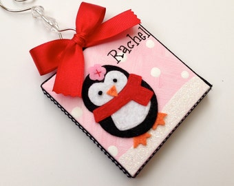 Personalized felt penguin canvas holiday ornament