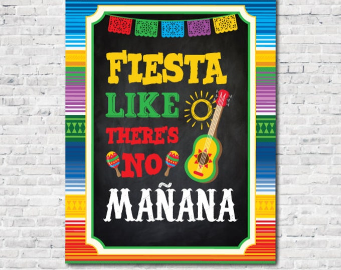 Fiesta Decorations, Fiesta Sign, Fiesta Like There's No Mañana Sign, Fiesta, Mexican Party, Instant Download