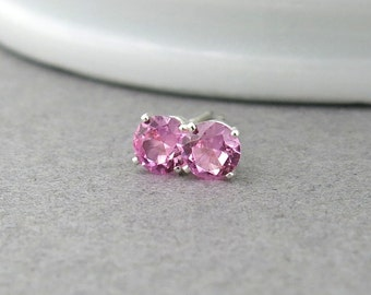 Pink Tourmaline Stud Earrings Pink Tourmaline Earrings Gemstone Post Earrings October Birthstone Jewelry Unique Jewelry Gift for Women