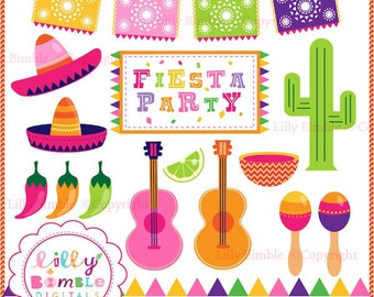 Fiesta Party clipart for invitations, cards, and party decor cactus, peppers, picado, maracas, sombreros DIGItAL