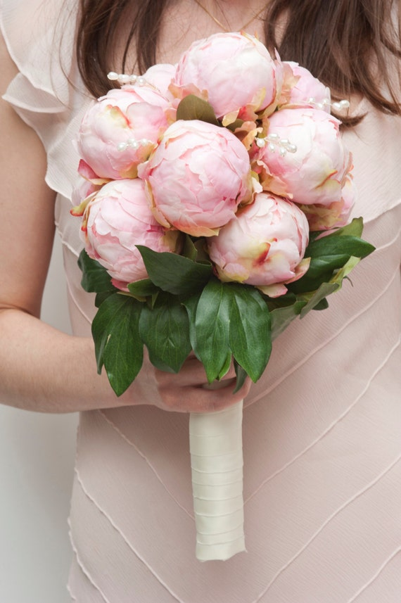 Items similar to English peony bridal bouquet decorated with silk ...