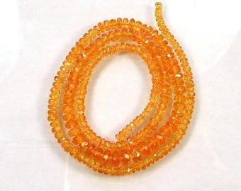 """Spessartite mandarin garnet faceted rondelle beads AAA 2.5-5mm 16.5""""strand"""