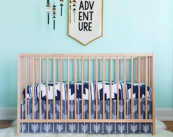 Crib Skirt Charcoal Arrows. Baby Bedding. Crib Bedding. Crib Skirt Boy. Baby Boy Nursery. Arrow Crib Skirt. Gray Crib Skirt.