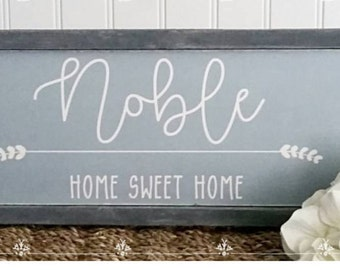 Family Name Sign Wood Cottage Blue Last NameWhite Distressed wood Large Typography Hand Lettering  Framed Signs Black and White Clean Simple