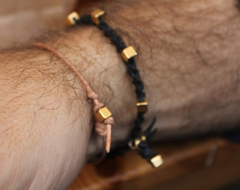 Bracelet Simple 01 Gold Leather Handmade (B401GD-L)
