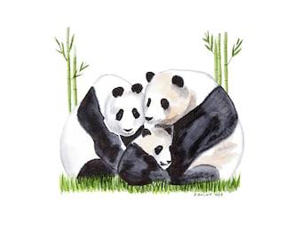 Asian Wall Art, Panda Bear Print, Watercolor Panda Art, Jungle Nursery, Asian Art, Panda Wall Art, Baby Room Decor, Panda Decor