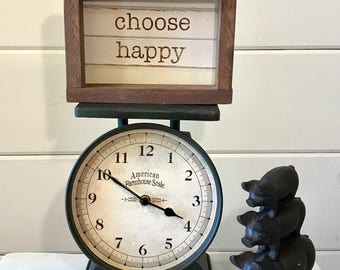 CHOOSE HAPPY mini shiplap sign | wood sign | farmhouse decor | farmhouse sign | shiplap sign | fixer upper decor