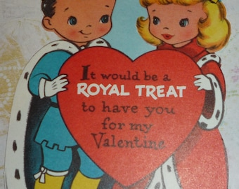 Vintage 1950s King and Queen of Hearts Valentine Card