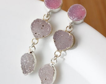 50% OFF SALE - Silver Rosy Pink Druzy and Mauve Druzy Earrings - Triple Druzy - Post Setting