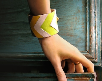 Leather Cuff Bracelet, geometric natural leather jewelry, chevron fashion jewelry, yellow and white grey