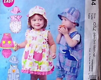 Pattern For  Baby Boy Girl Dress Rompers Jumpsuit Panties Hats  Sizes NB S M L M 6494