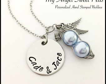 Miscarriage / Infant Loss Remembrance Sweet Pea Pod NECKLACE....with Personalized Circle...Remember and Honor your Angel or Angels