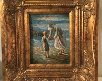 Beautiful Mother and Child at the Beach Painting on Board signed Coet