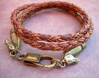 Leather Bracelet, Horse Bracelet, Horse Jewelry, Mens Bracelet, Womens Bracelet, Equine, Equestrian, Triple Wrap, Braided Bracelet,