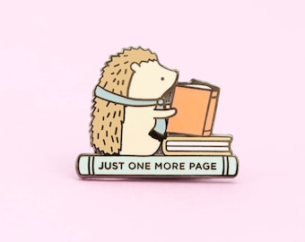 Hedgehog Book Pin, hedgehog enamel pin, book pin, book lover gift, hedgehogs