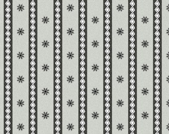 Maywood Frolic in the Snow Snowflake Winter Stripe Grey Flannel Fabric BTY