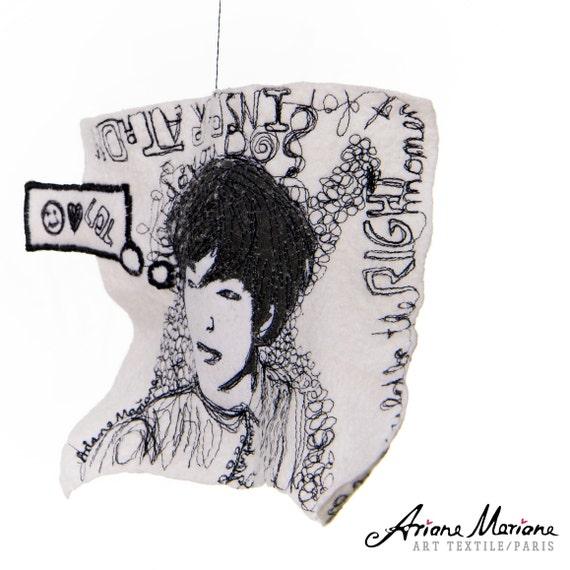 Original Felt Art, Embroidery Painting, Contemporary Textile art, Fiber art, Silk, Freehanging Art, Reversible Art