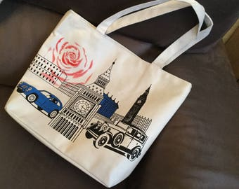 London theme for races or any activity tote bag