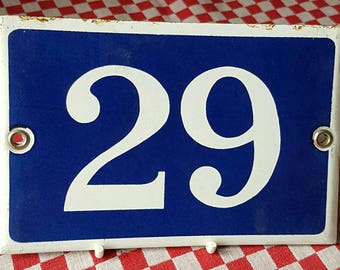 Vintage French Industrial Chic Traditional Blue & White Enamel Door House No. 29 Plaque / Sign-French Door  / Quincaillerie