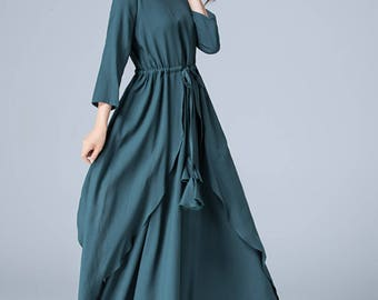 dark green dress, layered dress, prom dress, linen dress, elastic waist dress, wedding dress, maxi dress, party dress, retro dress 1777