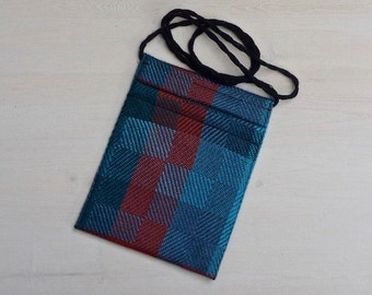Hip Bag of Twill Blocks in Rust and Blues
