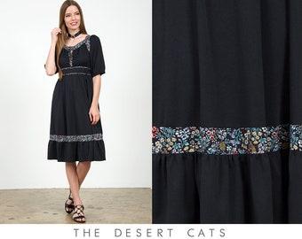 vintage 70s dress vintage 1970s black and floral bohemian hippie dress vintage boho union made festival peasant dress