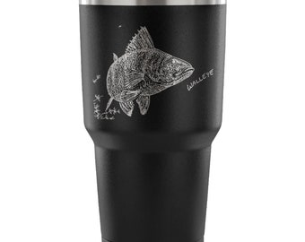 Fathers Day Fishing Gift Walleye Travel Mug Coffee Tumbler 30oz Double Walled Vacuum Insulated. Perfect Fishing Gift for Dad