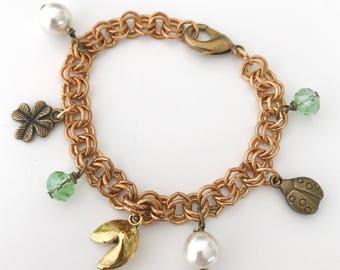 Good karma bracelet - clover ladybug fortune cookie charm bracelet - green gold - shamrock bracelet