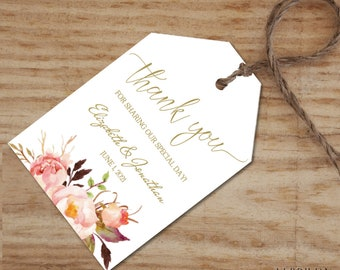 Wedding Favor Tags Template, Floral Gold Wedding Thank You Tag - Shower Gift Tag Template -DIY Editable PDF-DOWNLOAD Instantly|VRD156KD