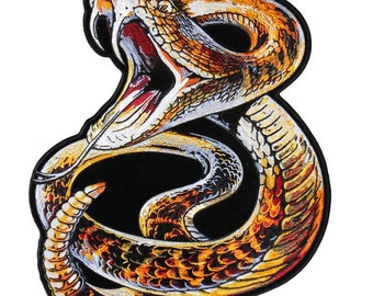 """Rattlesnake, High Thread Iron-on / Saw-on Rayon PATCH - 9"""" X 11"""", Exceptional Quality"""