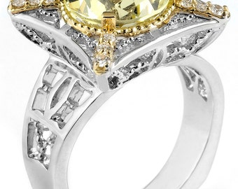 True Two Tone 18k Gold & Sterling Silver Ring with Lemon Quartz and Diamonds (Size 6)