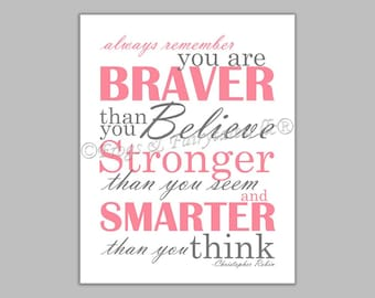 Christopher Robin Always Remember You are Braver Than You Believe Pink Gray Canvas Wall Art Print