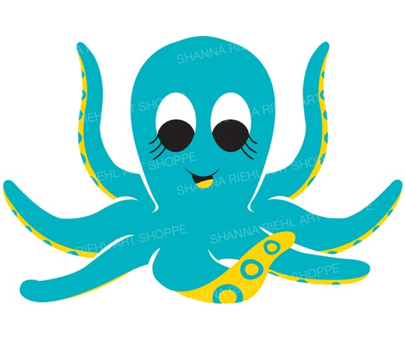 Cute Octopus Nautical Clipart Under the Sea Octopus