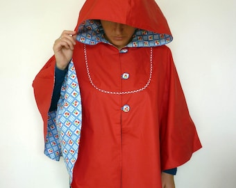 Waterproof large bright red hooded Cape