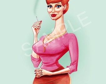 MAD MEN Joan Holloway Caricature Print