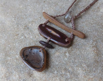 Tribal Boulder Opal, beach pebble, Iron stone, Smoky Quartz, wood necklace  - Australian jewellery - earthy, versatile, brown, primitive