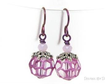 Pink and Clear Earrings, Pink Niobium Earrings, Earrings with Niobium Wires, Simple Pink Earrings, Pink Spiderweb Earrings