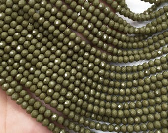 1Full Strand 4*3mm Green Crystal Rondelle Beads,Crystal  Glass Beads For Jewelry Making