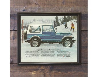 Jeep Sign • American Motors Advertisement • Dad's Garage Gift • Winter Jeep Picture • Jeep CJ Model • Blue Jeep Poster • Skiing Advertising
