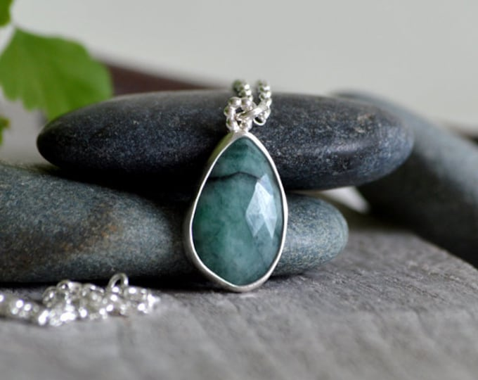 Raindrop Emerald Necklace, 6.45ct Emerald Necklace, May Birthstone, Large Emerald Necklace Handmade In The UK